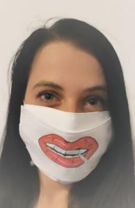 Cigiző női száj mintás egyedi textil szájmaszk cserélhető mintával kép
