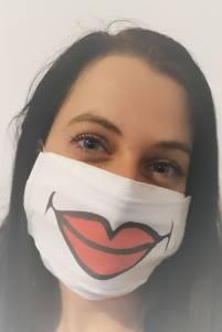 Cuki mosoly mintás vicces, egyedi szájmaszk textilből kép