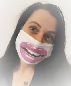 Egyedi textil vicces szájmaszk erősen rúzsozott szájjal kép