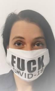 Fuck Covid feliratos egyedi vicces szájmaszk - textil alapú kép