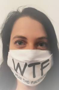 Viselj maszkot! angol feliratos, cserélhető mintás egyedi textil arcmaszk kép